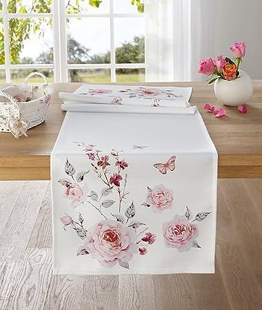 Moderne Tischwäsche tischläufer ostern rosa weiß tischdecke blumen blüten