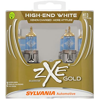 SYLVANIA - H13 (9008) SilverStar zXe GOLD High Performance Halogen Headlight Bulb - Bright White Light Output, Best HID Alternative, Xenon Charged Technology (Contains 2 Bulbs): Home Improvement