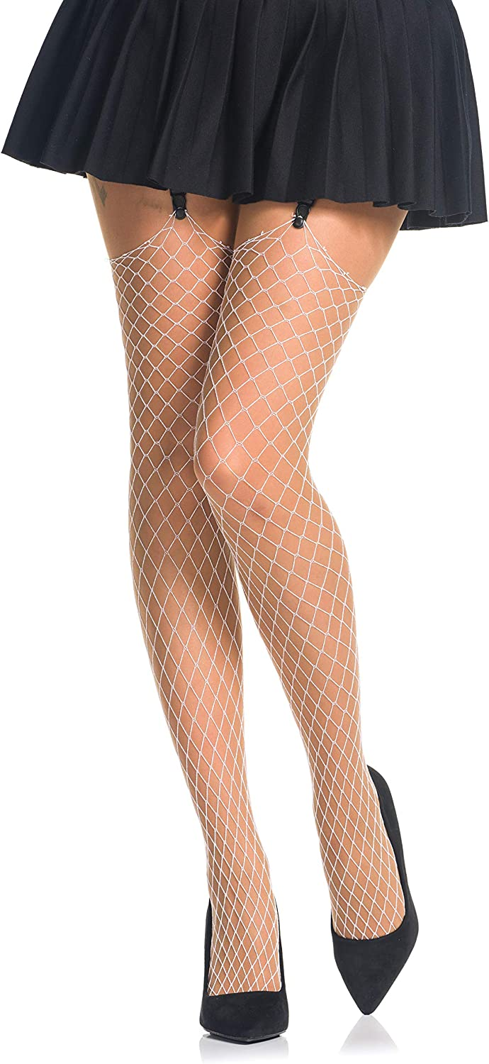 Sizes S-XL 3 Colours Large Mesh Fishnet Suspender Stockings by Romartex