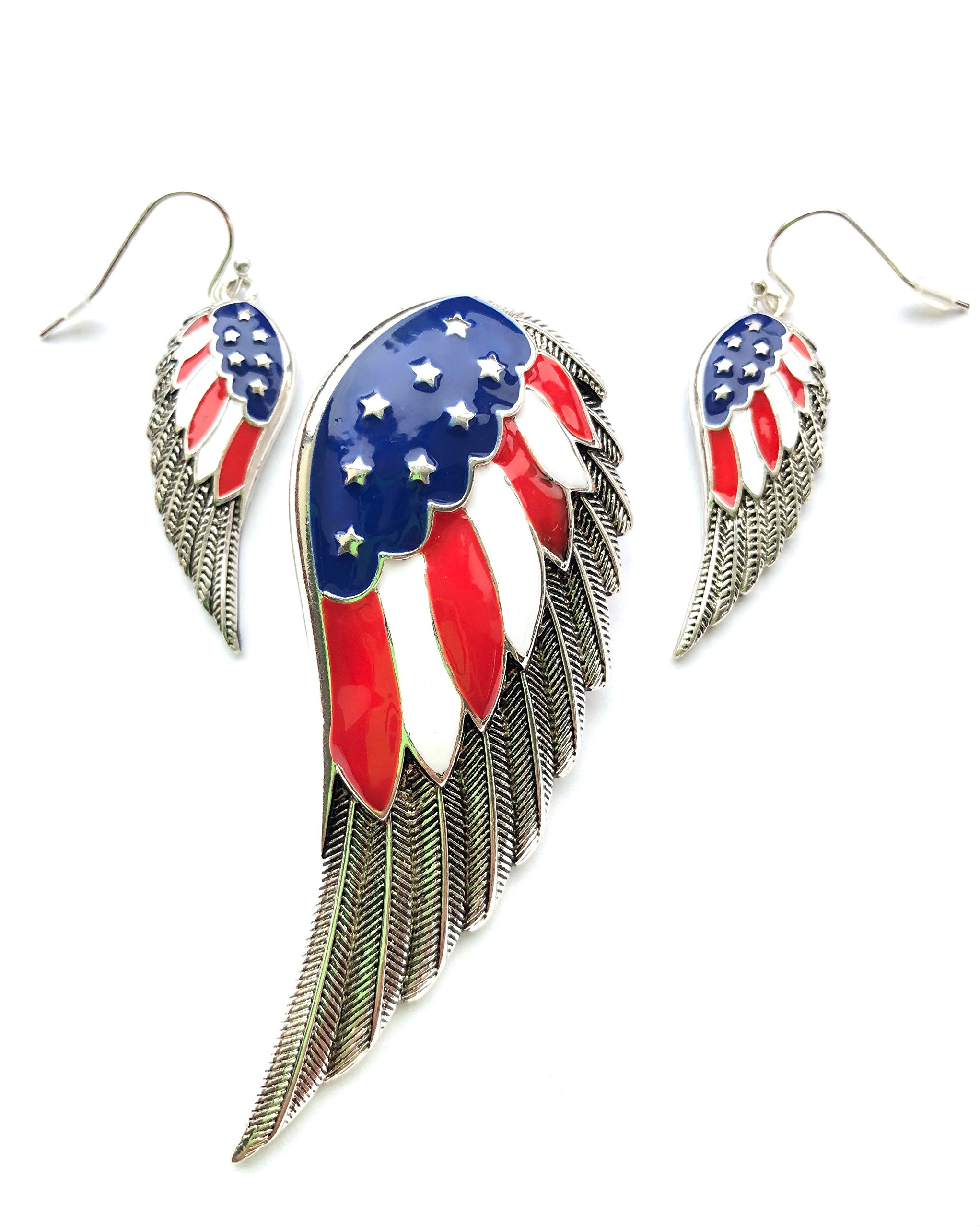 My Prime Gifts American Flag Design Wing Magnetic Clasped Pendant Enhancer & Earring Set