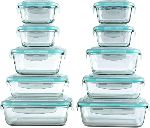 Set of 10 Kitchen Food Storage Containers Plastic Clear Freezer Dishwasher Safe