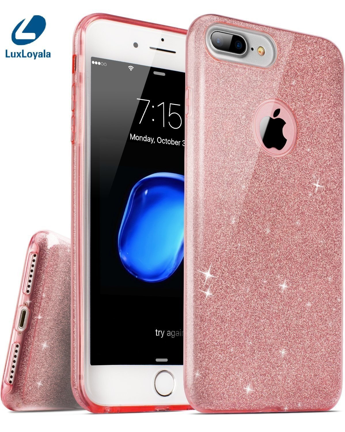 Cute iPhone 7 Plus Case for Girl, Pink iPhone7 Plus Girly Case Shockproof  Silicone Bling Glitter Sparkle Transparent phone Protective case,not fit
