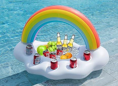 Jasonwell Nube de Arcoíris Hinchable Posavasos colchonetas Flotador Inflable Portavasos Bebida Flotante Ensalada de Fruta Bar