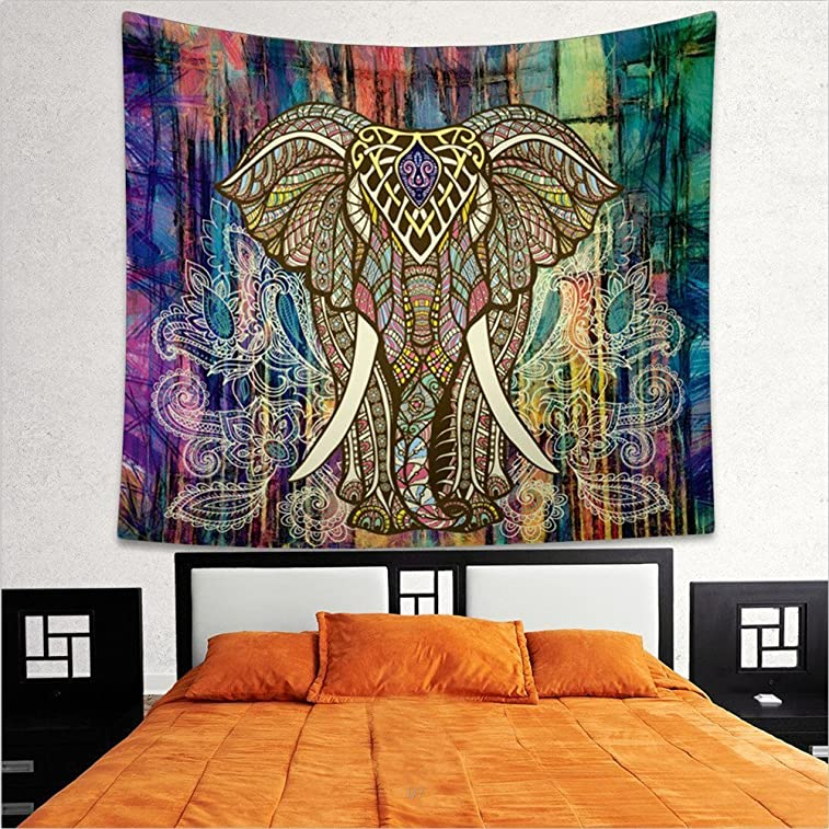 Indian Elephant Tapestry/ Wall Hanging Decor, Square Indian