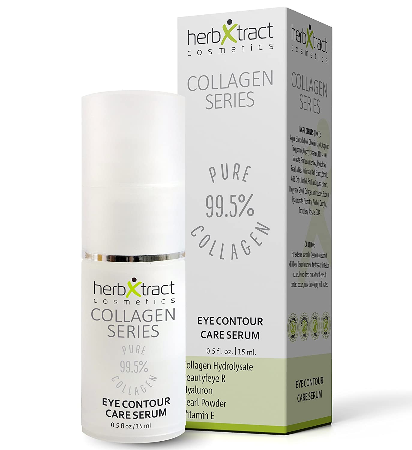 Eye Contour Care Serum for Eyelid Lift, Dark Circles, Wrinkles, Fine Lines & Bags - Anti Age Solution with Collagen, BeautyfeyeR, Pearl Powder, Hyaluronic Acid, Guarana, Vitamin E - 0.5 fl.oz HerbXtract