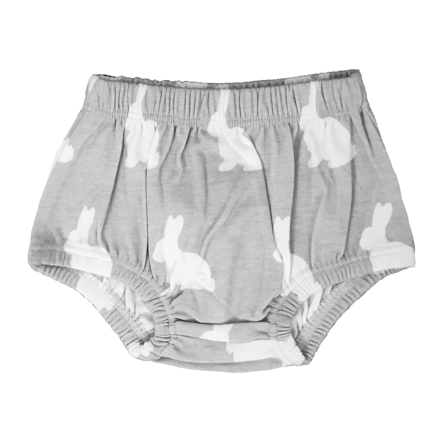 The Spunky Stork Grey & White Organic Cotton Bunnies Baby Bloomers