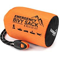 Emergency Sleeping Bag Bivy Sack Rescue Kit Compact Lightweight Multi-Functional Durable Mylar Shelter Water Filter…