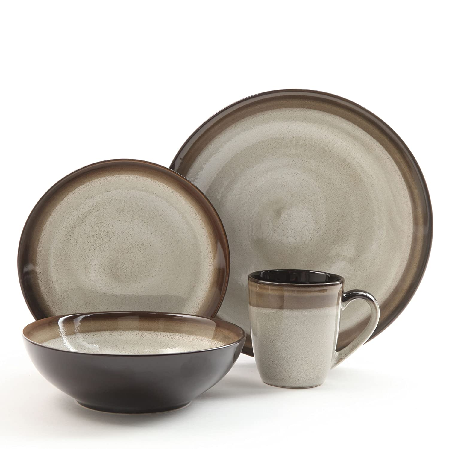Gibson Elite 91547.16RM Couture Bands 16-Piece Dinnerware Set, Blue and Cream Gibson Overseas Inc.