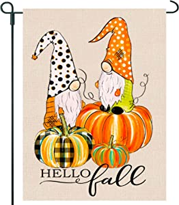 GRNPOWER Hello Fall Garden Flag - Fall Decor for Yard Outdoor Farmhouse Patio Lawn Autumn Decoration, Pumpkin Gnomes Flag, 2-Sided Vertical burlaps 12.5 x 18 in