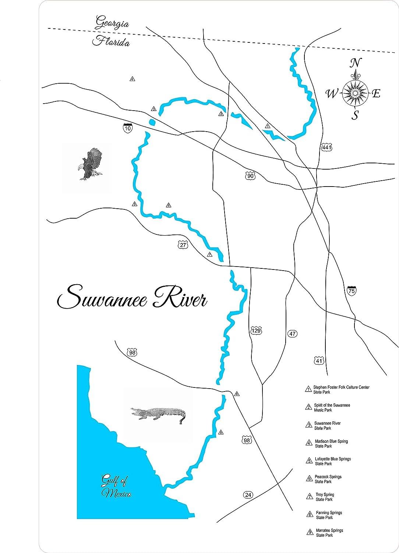 Amazon Com Suwanee River Florida Standout Wood Map Wall Hanging
