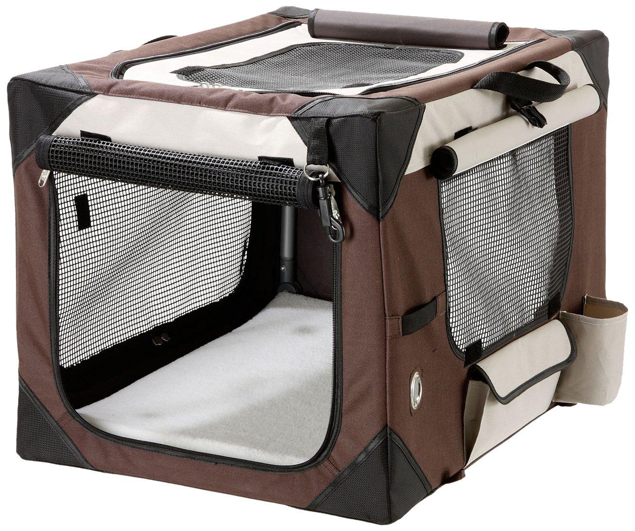 Karlie Flamingo Smart Top de Luxe Travel Box for Dogs, Beige Brown