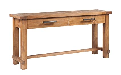 CDI Furniture CN1113WP Country Collection Rustic Pine Wood Traditional  Country Sofa Table With 2 Drawers,