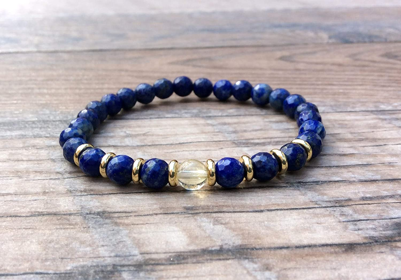 Solar Plexus Chakra Lapis Lazuli bracelet with Citrine focal November birthstone