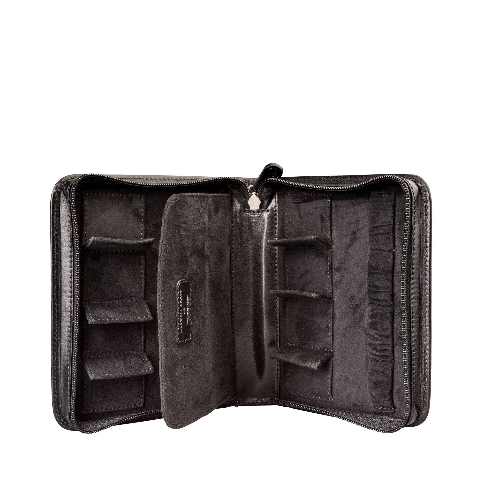 Maxwell Scott Luxury Black Leather Watch Carrying Case (Atella)