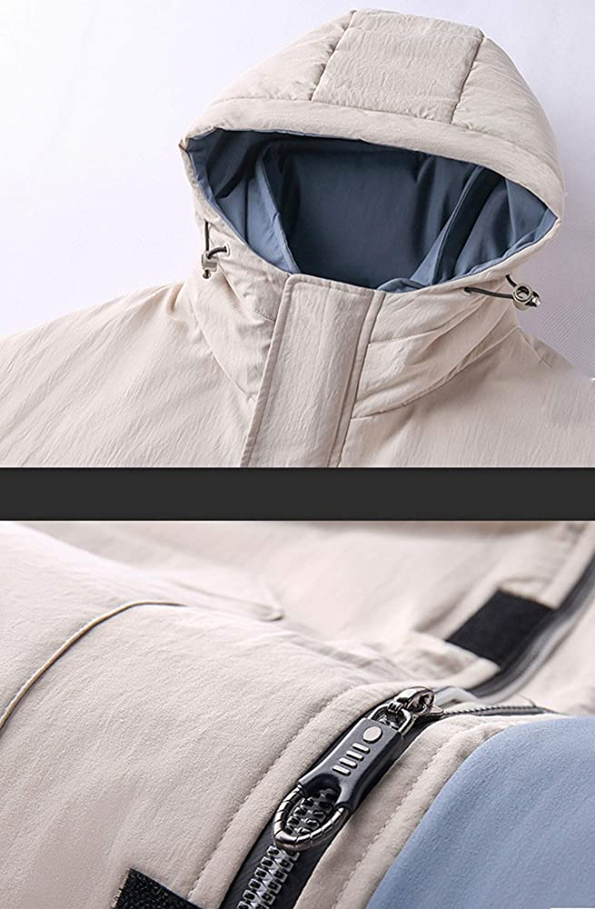ouxiuli Mens Quilted with Hood Thick Warm Winter Slim Fit Zipper Down Jacket Coat