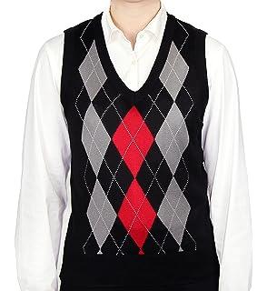 Amazon.com: Women's Argyle Golf Sweater Vest - Navy/White/Light ...