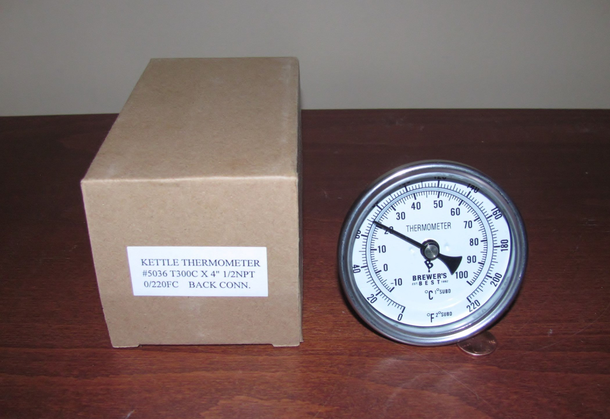DIAL THERMOMETER 3'' FOR BREW KETTLE OR WHISKEY STILL with STAINLESS STEEL THERMOWELL AND 4'' PROBE