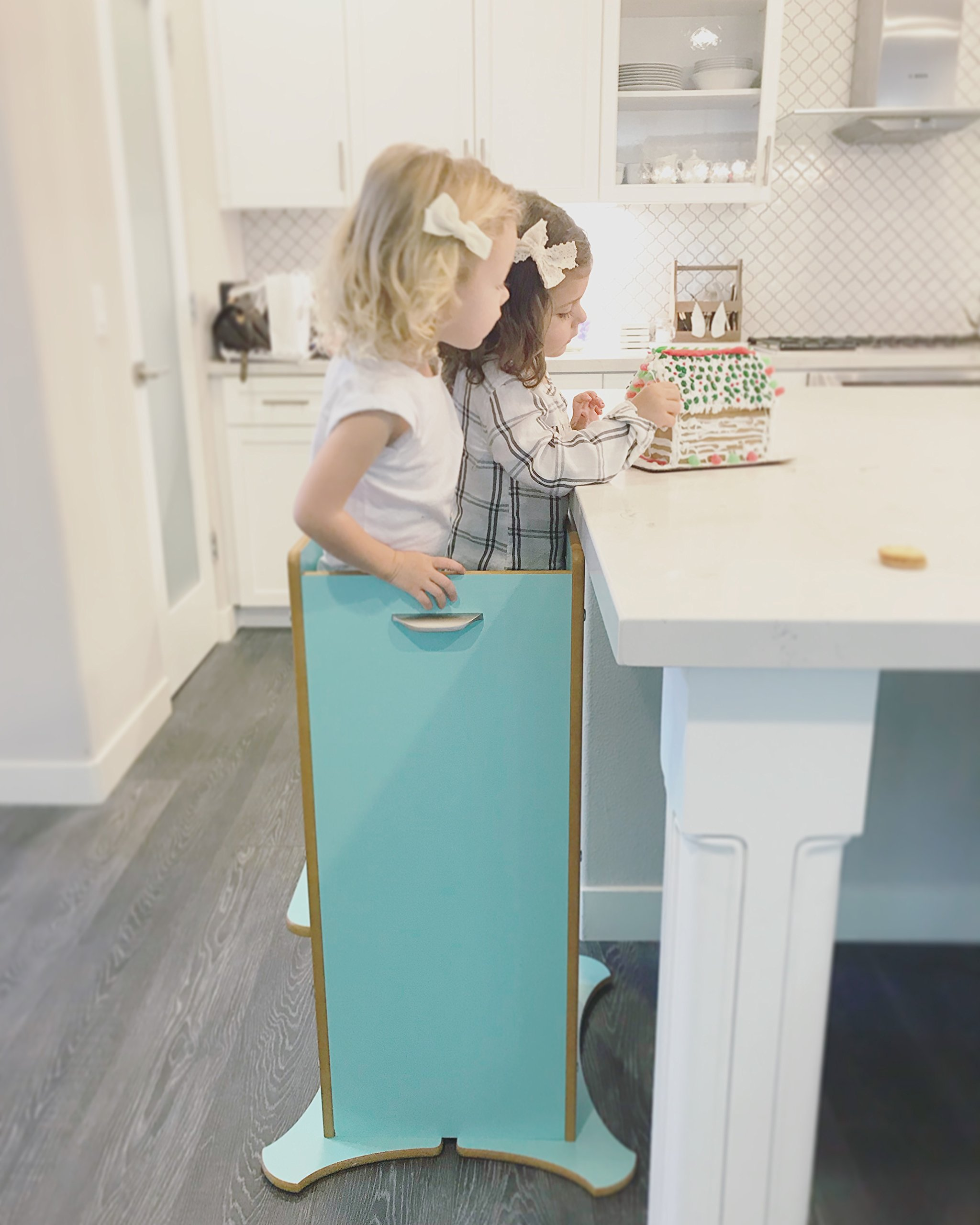 Little Helper FunPod Kitchen Step Stool with Adjustable Height - Limited Edition in Mint Blue