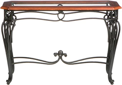 Prentice Sofa Console Table – Dark Cherry w Black Metal Frame – Glass Top