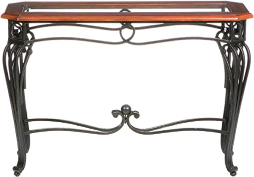 Southern Enterprises Prentice Sofa Console Table Dark Cherry with Black Finish