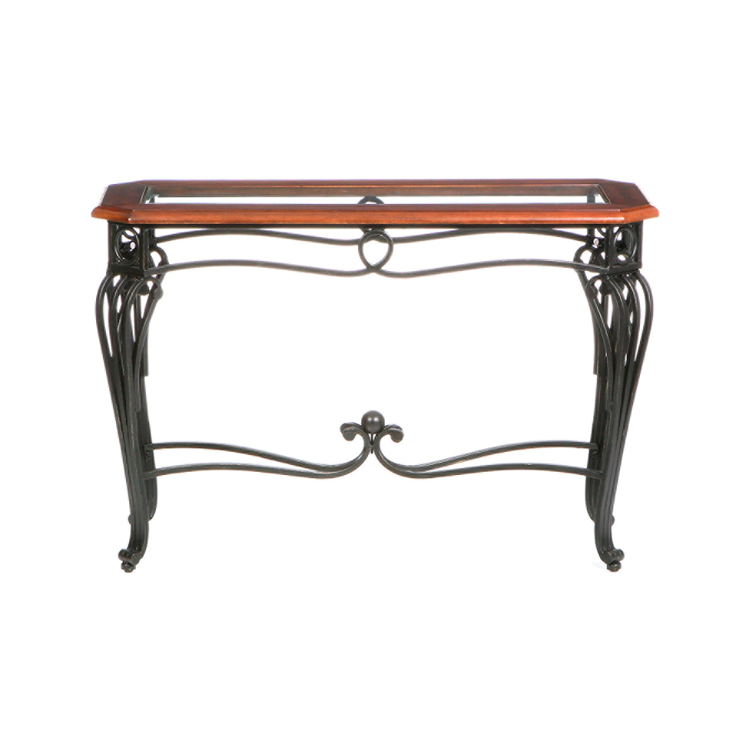 Prentice Sofa Console Table - Dark Cherry w/ Black Metal Frame - Glass Top by Southern Enterprises, Inc.