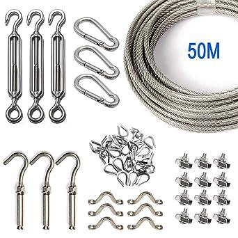 Kit de Cuerda de Acero Inoxidable, Kit de Luces para Exteriores, Kit de Suspensión de Cuerda, Cable de Cable de 50m con Tensor y Ganchos, Cable de ...