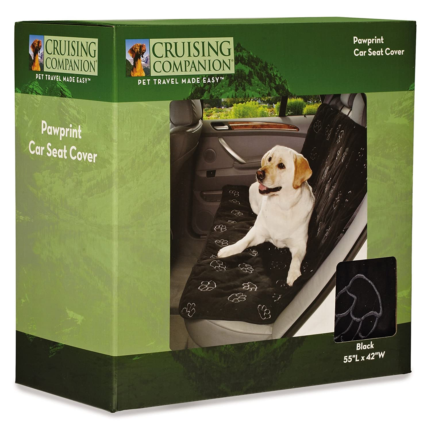 Cruising Companion Pawprint Car Seat Covers — Polyester Covers That Predect Cars from Dog-Related Debris, Black