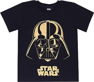 Camiseta Negra con un Estampado Dorado de Star Wars 12 años: Amazon.es: Ropa y accesorios
