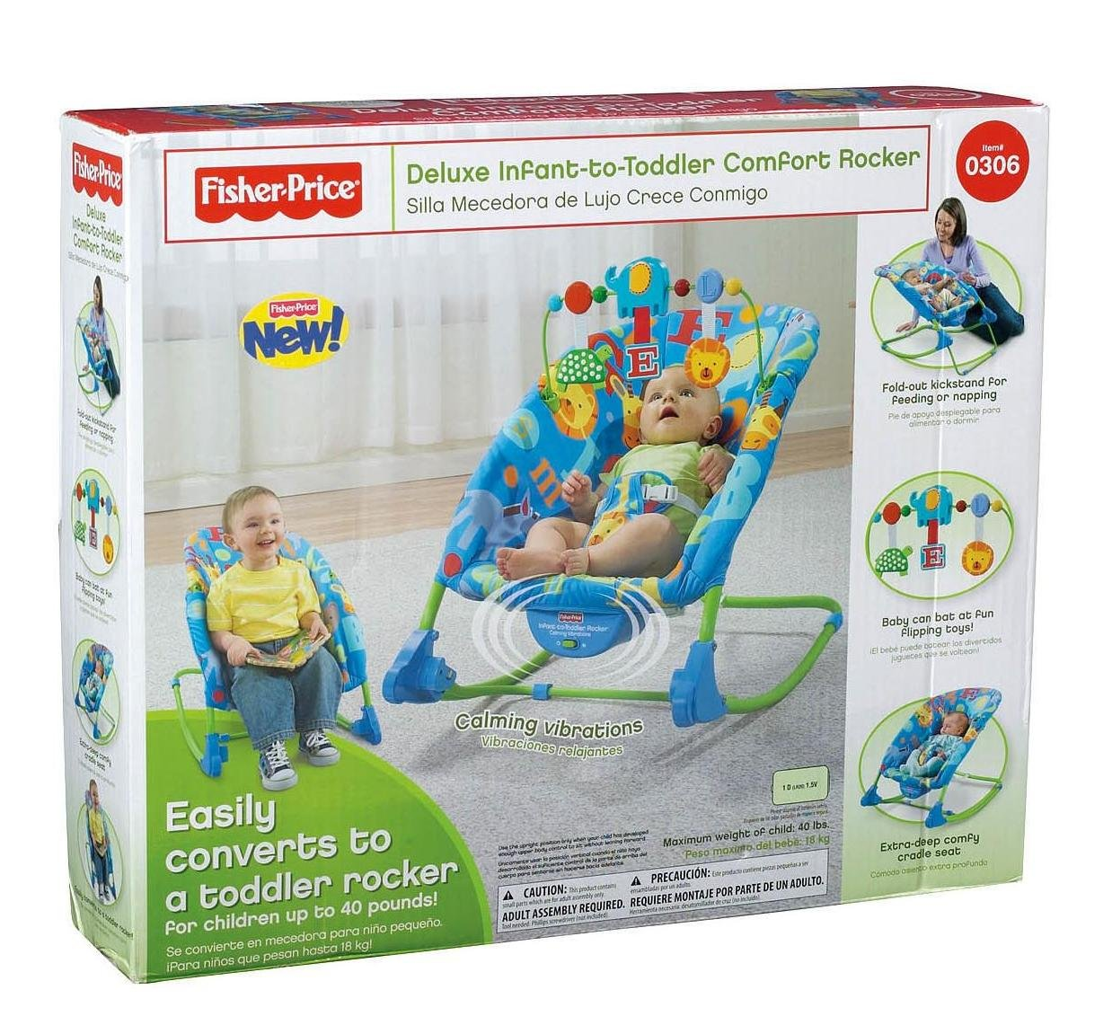 7e7c6309cb608 Amazon.com : Fisher-Price Deluxe Infant-to-Toddler Rocker, Alpha Fun :  Infant Bouncers And Rockers : Baby