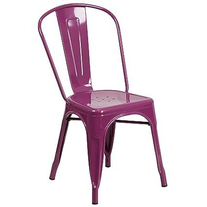 Flash Furniture Purple Metal Indoor Outdoor Stackable Chair