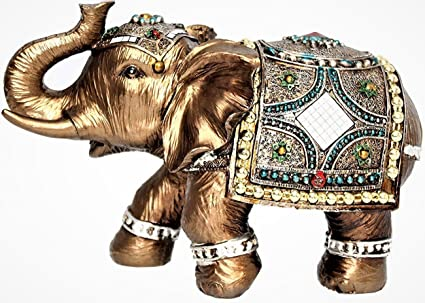 Feng Shui Brass Color 6quot Elegant Elephant Trunk Statue Wealth Lucky Figurine Home Decor Gift