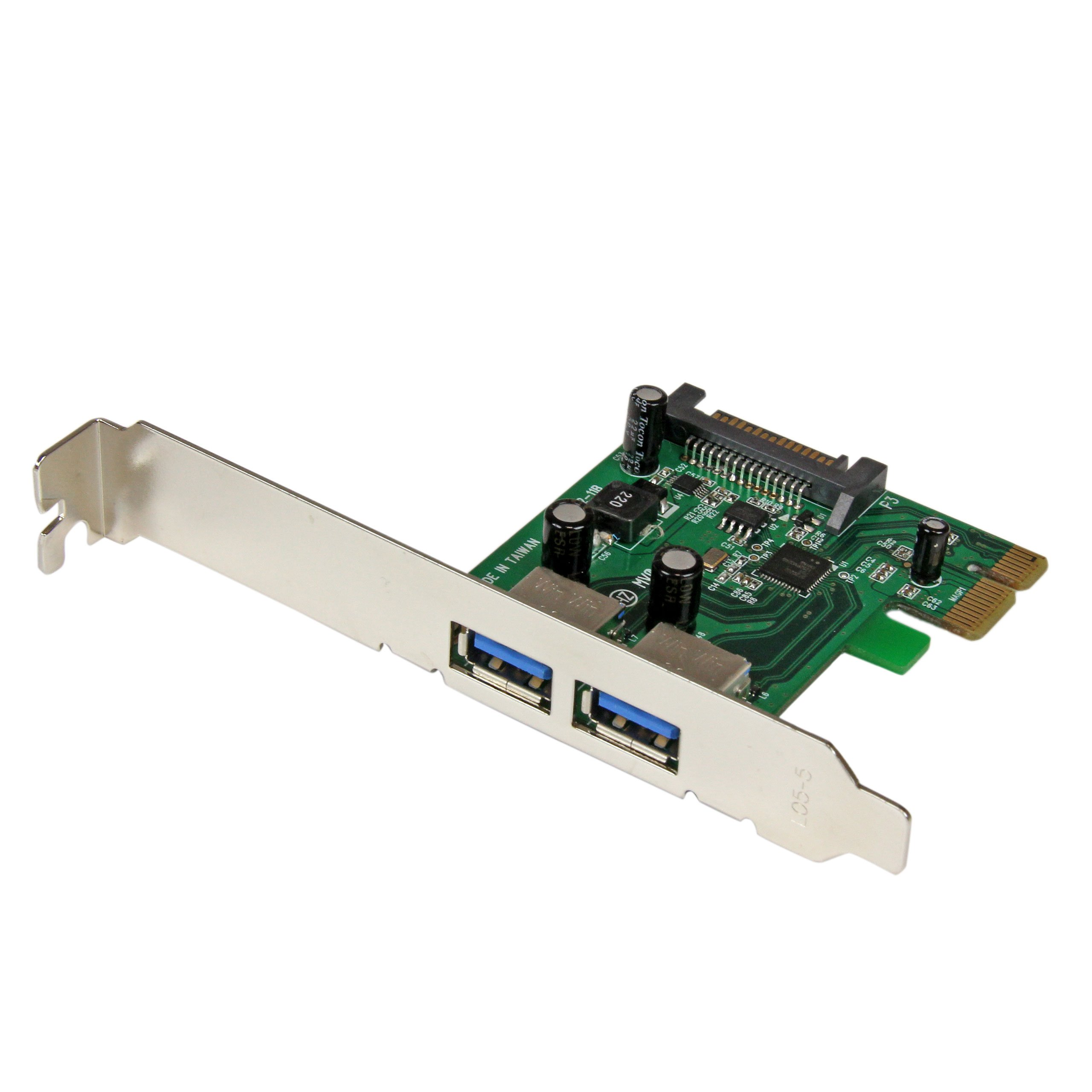 2 Port PCI Express (PCIe) SuperSpeed USB 3.0 Card Adapter with UASP - SATA Power - Dual Port USB 3 PCIe Controller