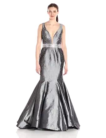 Jovani Women's Gunmetal Grey Mermaid Prom Dress at Amazon