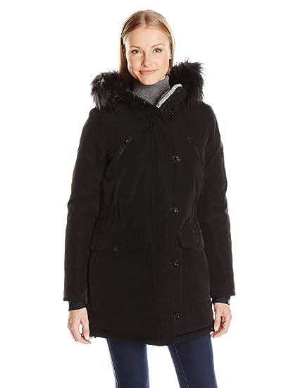 Amazon.com  Nautica Women s Parka Jacket with Faux Fur Hood Strip  (Removable)  Clothing d7df0ba91f55