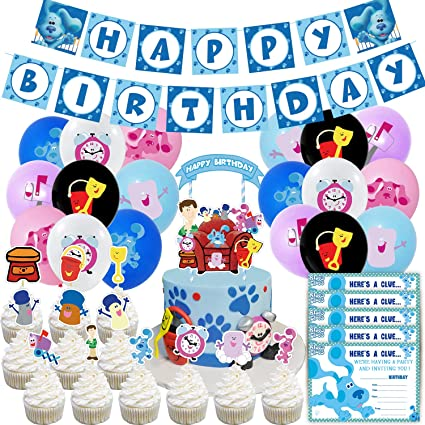 Buy Blues Clues Birthday Party Supplies Blues Clues Party Include Happy Birthday Banner Blues Clues Cupcake Toppers And 24 Pcs Blues Clues Balloons For Girl And Boy Party Decorations Online In Turkey