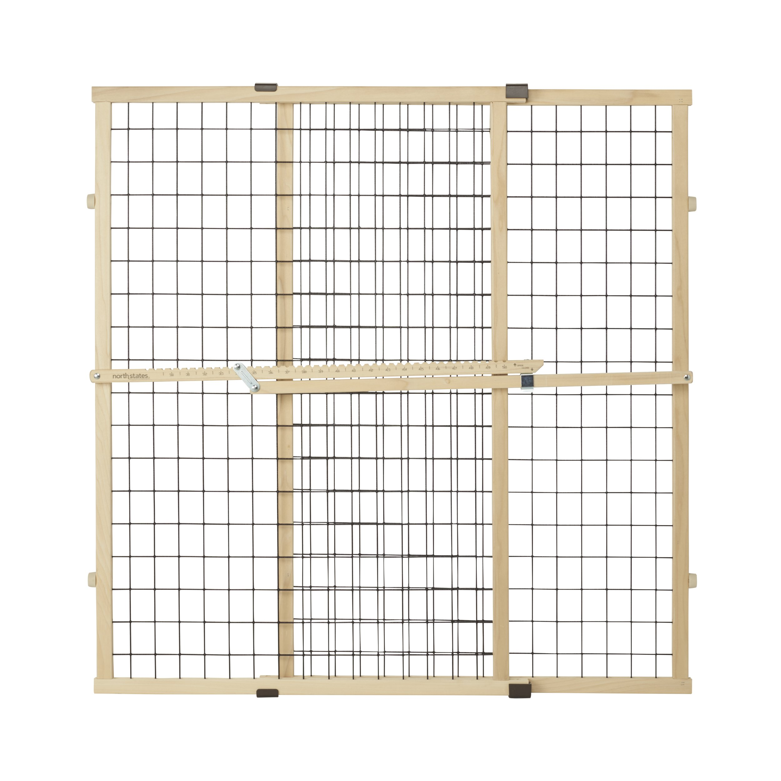 North States MyPet 37'' Tall & 48'' Wide Wire Mesh Gate: Simply Expand and Lock in Place. Pressure Mount. Fits 29.5''- 48'' Wide (37'' Tall, Sustainable Hardwood) by MY PET