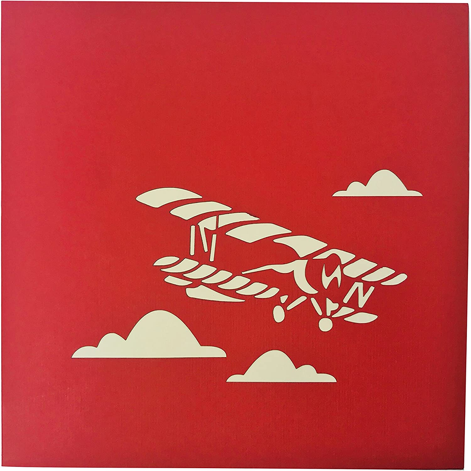 Good Bye Wow 3D Pop Up Card for All Occasions Get Well Good Luck Congratulations Red Airplane Birthday Anniversary Love