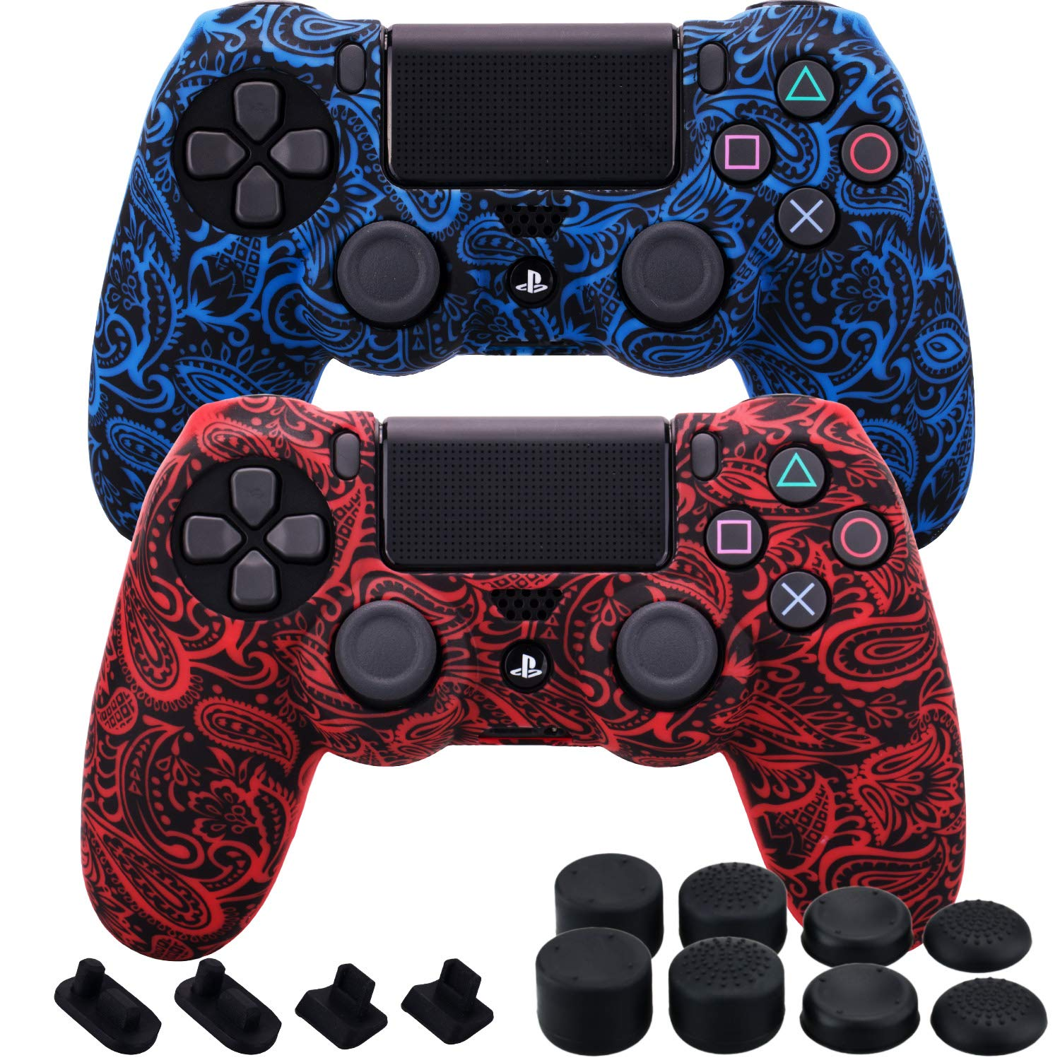MXRC Silicone Rubber Cover Skin case Anti-Slip Water Transfer Customize Camouflage for PS4/SLIM/PRO Controller x 2 (Leaves Red + Blue) + FPS PRO Extra Height Thumb Grips x 8 + Dustproof Plug x 4