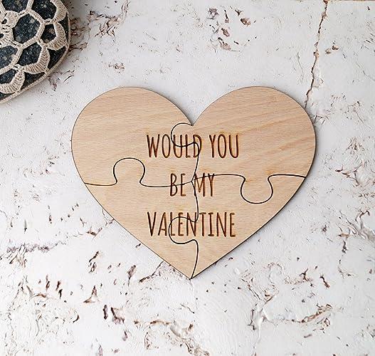 Amazon Com Valentine S Day Puzzle Personalized Small Wooden Heart