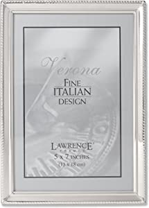 Lawrence Frames Polished Silver Plate 5x7 Picture Frame - Bead Border Design