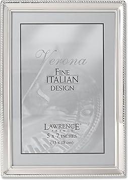 "Custom Engraved 5/"" X 7/"" Silver Plated Flat Edge Photo Frame"