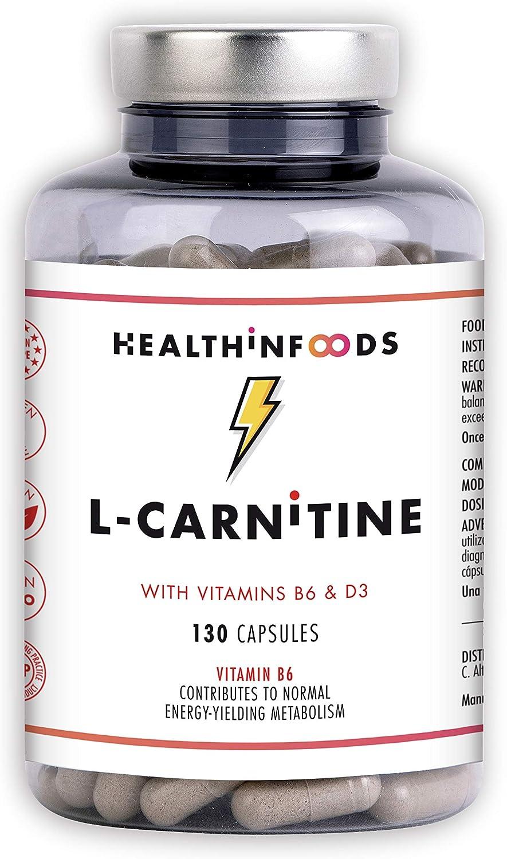 L CARNITINA L-Carnitina Quemagrasas Vitaminas B6 y D3, Mejora Energía Resistencia Rendimiento Deportivo l carnitina capsulas 130 Cápsulas Veganas ...