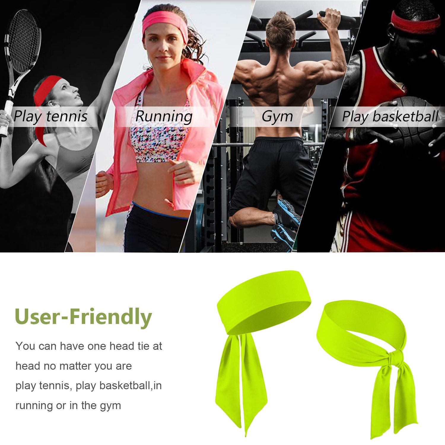 Amazon.com : BEACE Head Tie Headband for Men & Women - 1PCS / 2PCS / 3PCS - Keep Sweat Out of Your Face - Moisture Wicking & Performance Stretch - Sports ...