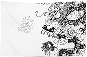 "Lunarable Vintage China Tapestry, Mythological Dragon Cultural Features Orientalic Design Print, Fabric Wall Hanging Decor for Bedroom Living Room Dorm, 45"" X 30"", Monochrome"