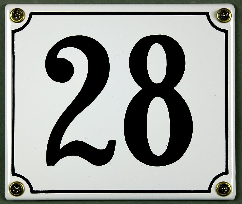 sofort lieferbar Emaille Hausnummernschild Hausnummer Schild wetterfest und lichtecht 21 wei/ß//schwarz 12x14cm W/ählen Sie Ihre Nummer Zahlen 1 bis 30 verf/ügbar wei/ß//schwarz 12x12 cm und 12x14cm
