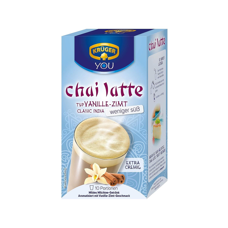 Krüger Chai Latte Classic India menos dulce, vainilla-canela, té de la leche de bebida y templado, 10 Pack, 10 x 10 monodosis bolsa: Amazon.es: Alimentación ...