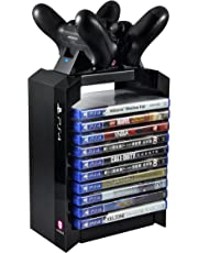Numskull PS4 Games Tower & caricabatteria - Torre per Giochi + Caricatore