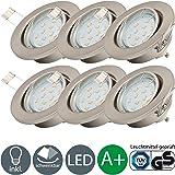 Spots-plafonniers LED   Éclairage halogène intégré 3W   Lot de 6 lampes rotatives 250 lm 230 V   Plafonnier écologique   Culot GU10   EEC A+