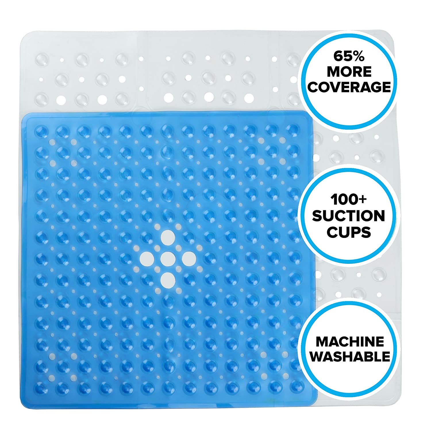 Amazon.com: Extra Large Square Shower Mat - Clear (65% Larger, 27\