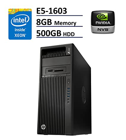 HP Z440 Business Workstation Desktop PC: Intel Xeon E5-1603 v3, 500GB HDD,  8GB DDR4, NVIDA NVS 310, DVD-RW, Windows 10 Pro (Certified Refurbished)